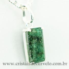 Pingente Esmeralda Facetado Berilo Prata 950 Garra 112453