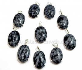 5 Pingente Cabochão Obsidiana Flocos De Neve Prata 950 na Garra