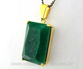 Pingente Quartzo Verde Facetado Manual Montagem Garra Dourado