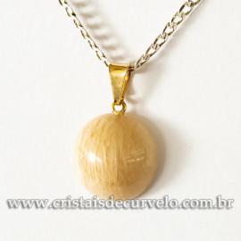 Mini Pingente Disco Amazonita Pêssego Pedra Natural Pino Dourado