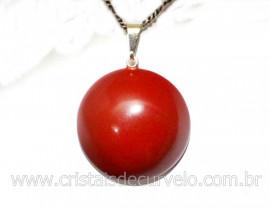 Pingente Disco Liso Jaspe Vermelho Pedra Natural Pino Prateado