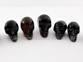 Cranio Furo Vazado Pedra Obsidiana Negra De Garimpo Esculpido Pequeno