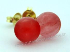 Brinco Bolinha Pedra Cherry Rosa Pino Tarracha Banho Ouro Flasch Dourado