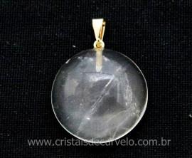 Pingente Disco Cabochão Quartzo Cristal Pedra Natural Pino Dourado