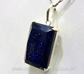 Pingente Facetado Pedra Estrela Azul Prata 950 Cachinha Garra Reforçado REFF 22.4