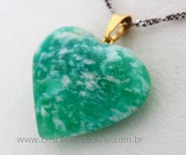 Pingente Coraçao AMAZONITA VERDE Pedra Natural Castoação Pino Dourado