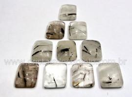 10 Retangulo Cabochao pra Pingente Pedra Cristal com Turmalina Calibrado 15 x 20 MM