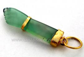 Figa Pingente Pedra Agata Verde Envolto Banho Dourado