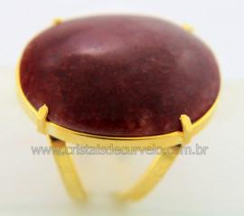 Anel Quartzo Vermelho Cabochão Oval Pedra Natural Montagem Banho Flash Dourado Aro Ajustavel