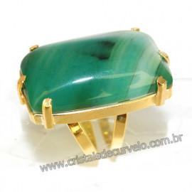 Anel Agata Verde Retangular Dourado Ajustavel Reff 109907