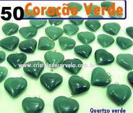 50 Coração VERDE Pedra Quartzo Pingente Banhado Prata
