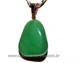 Pingente Pedrinha Quartzo Verde Montagem Dourado