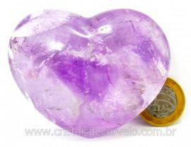 Coração Ametista Pedra Natural Tamanho Medio Presente Ideal Cod CA172.0