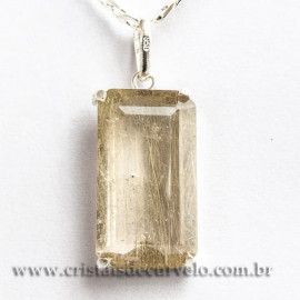 Pingente Gema Rutilo Ouro Facetado Montagem Prata 950 112430