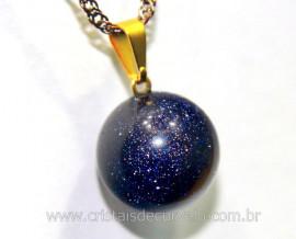 Pingente Bolinha Pedra Estrela Azul Pino Dourada