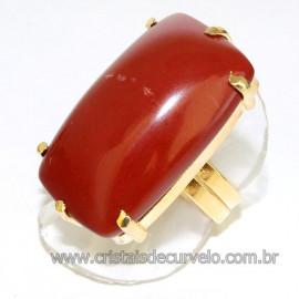 Anel Jaspe Vermelho Retangular Dourado Ajustavel Reff 109908