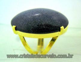 Anel Pedra Estrela Cabochão Oval Pedra Natural Montagem Banho Flash Dourado Aro Ajustavel