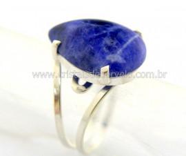 Anel Gota Pedra Sodalita Prata 950 Aro Ajustavel REFF AP5406