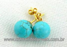 Brinco Bolinha Pedra Turquesa Azul Pino Tarracha Banho Ouro Flasch Dourado