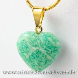 Pingente Mini Coração AMAZONITA VERDE Pedra Natural Dourado