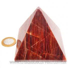 Pirâmide GRANDE Pedra Aragonita Vermelha Natural Queops 119029
