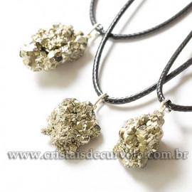 05 Pingente Pirita Pedra da Prosperidade Pino Prata 950 ATACADO