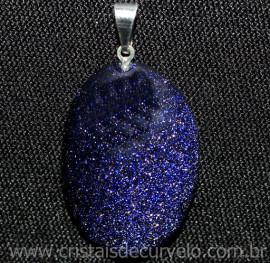Pingente Cabochao Oval Pedra Estrela Azul Pino Prateado