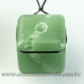 Pingente Pedra Cubo Quartzo Verde Difusor Aromaterapia Ranhurado