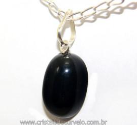 Pingente Cabochão Obsidiana Negra Pino Prata 950 Reff 106416