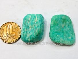 03 Amazonita Rolado Pedra Natural de Garimpo Esoterismo Colecionador Reff 39.5