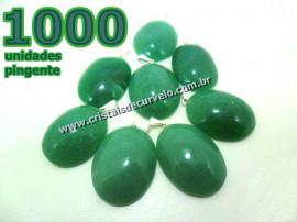 1000 Pingente Cabochão QUARTZO VERDE Pedra Natural Castoação Pino Banhado Prata