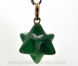 Merkaba Pedra Quartzo Verde Extra Pingente Argola Pino Prata 950