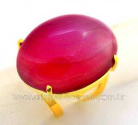 Anel Agata Rosa Cabochão Oval Pedra Natural Montagem Banho Flash Dourado Aro Ajustavel