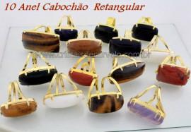 10 Anel Retangular Cabochao Pedra Natural MIsto Flash Dourado Aro Ajustavel ATACADO