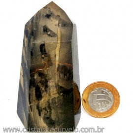 Ponta Onix Preto Pedra Natural Gerador Sextavado Cod 109764
