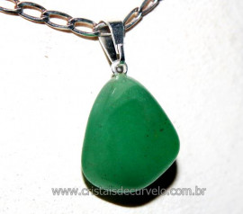 Pingente Pedrinha Quartzo Verde Montagem Prateado Reff PP5284