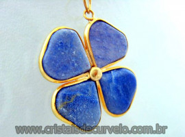 Pingente Trevo Quartzo Azul  Pedra Natural Trevinho da Sorte Banho Flasch Dourado