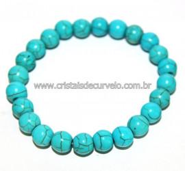 Pulseira Bolinha Howlita Azul Rolada Fio Silicone Reff 106198