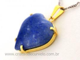 Pingente Extra Coração Pedra Quartzo Azul Montagem Garra Dourado