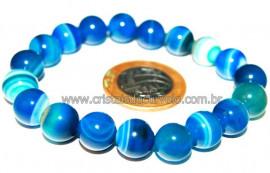 Pulseira Bolinha Pedra Agata Azul Rolada Fio Silicone PB8090