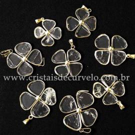 10 Pingente Trevinho Pedra Cristal Quartzo Natural Dourado ATACADO