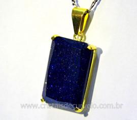 Pingente Pedra Estrela Azul Facetado Manual Montagem Garra Dourado