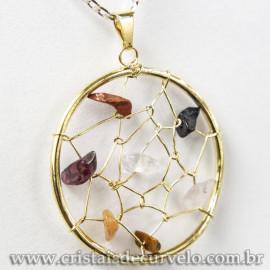 Pingente Filtro dos Sonhos Pedras Mistas DOURADO 120314