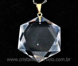 Estrela de Davi Pingente Pedra Cristal Montagem Pino e Presilha Dourada