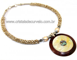 Maxi Colar Pingente Mandala de Abalone e Madrepérola Cod 110758