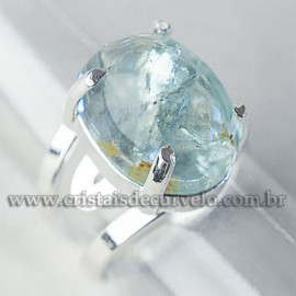 Anel Pedra Topazio Azul Cabochão Oval Banho Prateado 112549