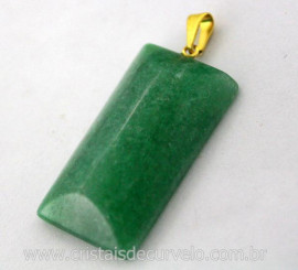 Pingente Retangular Quartzo Verde Montagem Pino Argola Dourada