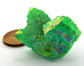 Drusa Crystal Aura Apple ou Maça Verde Bruta natural Cod AA8024