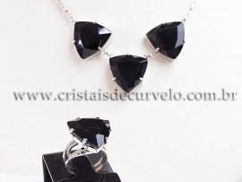 Conjunto Maxxi colar Obsidiana Negra 3 Pedras Prata 950 111572