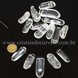 05 Cristal Rolado 35mm Furo Vazado Para Montar Pingente ATACADO